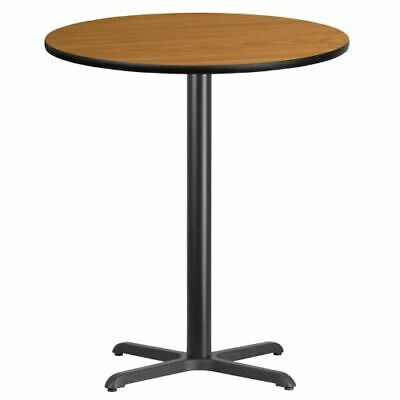 36'' Round Natural Laminate Table Top with 30'' x 30'' Bar Height Table Base FLA