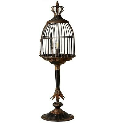 Distressed Black Bird Cage Metal  Lamp with Crown Top,35''Tall.