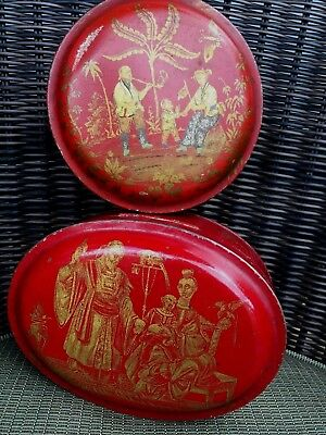 Antique Red Chinese Chinoiserie Painted Toleware Boxes