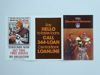 Vtg Cleveland Browns NFL Football Fold Out Pocket Schedule 1985 Clay Matthews