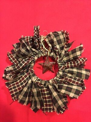 Handmade Plaid Mini Rag Wreath With Star - Rustic Primitive Country