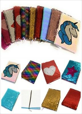 A5 Reversible Sequin Notebook Glittery Notepad Writing Journal Diary Book Gift