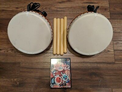 PS2 Taiko No Tatsujin Appare 3rd Generation bundle with 2 Drum Sets & 4 Sticks