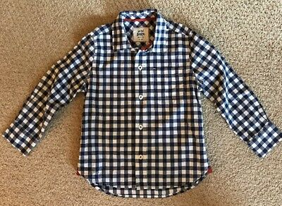 Mini Boden Blue and White Gingham Check Long Sleeve Boys Shirt Size 3-4Y