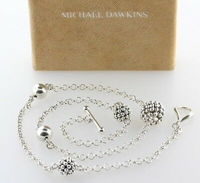 """Michael Dawkins Sterling Silver Granulated Beaded Station Toggle Necklace - 18"""""""