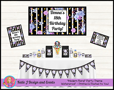 Ladies Modern FLORAL 18th 30th 21st 40th BIRTHDAY Party Decorations Supplies