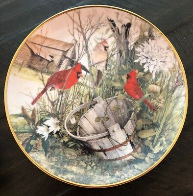 Franklin Mint | Cardinal Plate | The Old Wooden Bucket