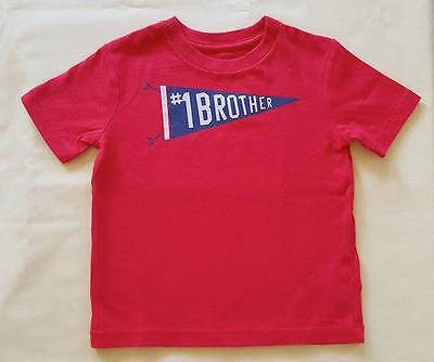 Nwt Baby Gap Boy's Hawaiian Red #1 Brother Graphic Tee 100% Cotton (12-18 M)
