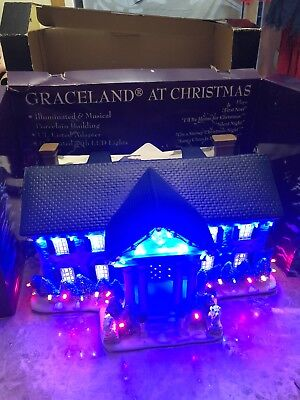 elvis graceland at christmas porcelain light up mansion 5 elvis presley songs