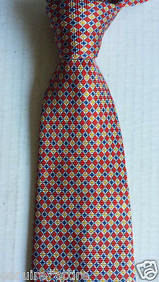 Jos A. Bank Men Dress Silk Tie Red Yellow Blue Geometric Profile Made in Italy