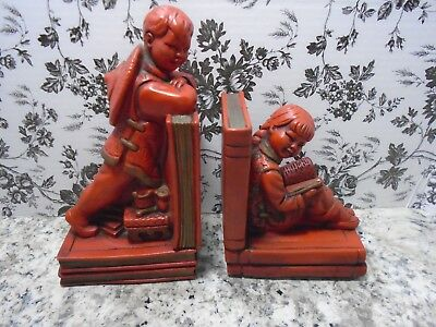 Vintage 1964-Chinese/Asian Boy & Girl Bookends by Universal Statuary (Used)