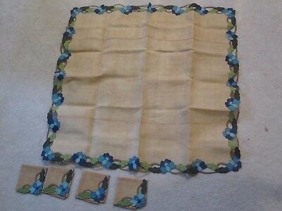 Vintage Beige Linen Tablecloth & 4 Napkins Flowers Cutwork Cutout Embroidered