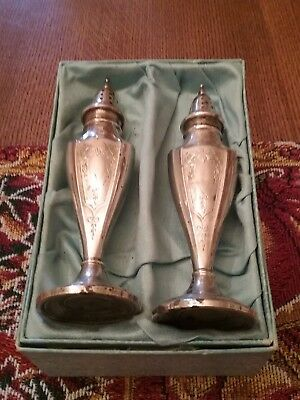 Antique M/ C Sterling Salt and Pepper Shakers  85 Grams Total Weight