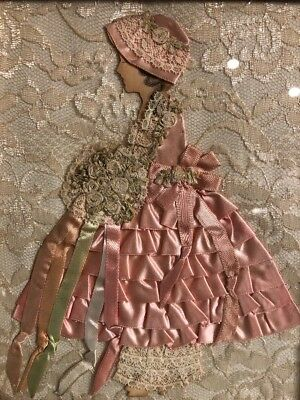 Vintage Paper Doll Ribbon Lace Art Picture Pink Dress Flowers Victorian