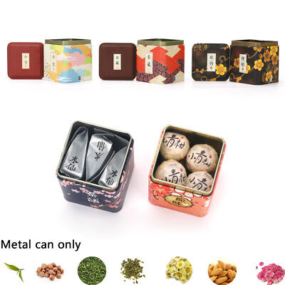 Chinese Style Metal Tin Cans Sealed Container Herb Stash Jar Iron Square Boxes