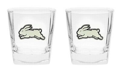 South Sydney Rabbitohs NRL SPIRIT Glasses with METAL BADGE Man Cave Gift