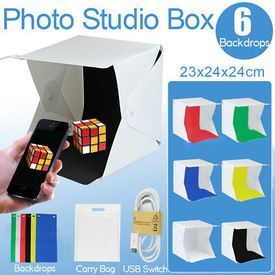 Mini LED Light Room Tent Photo Studio Photography Lighting Cube Box 6 Backdrops