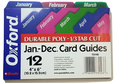 4 x 6 Card Guides January-December, Durable Poly - 1/3 Tab Cut