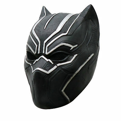 Black Panther Helmet Cosplay Full Head Latex Mask For Halloween Party fast ship