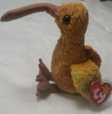 TY Beanie Babies, Beak the Australian Kiwi (retired 1998) - with red hang tags