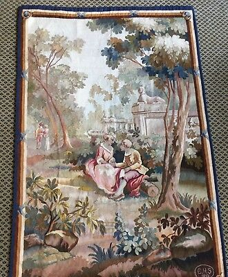 "Antique French Aubusson Tapestry SIGNED, DATED Verdure 57""x 38"" Gorgeous 1 of 2"