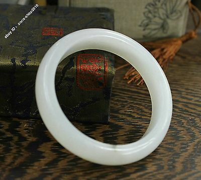 57mm Chinese Xin jiang 100% Pure Hetian Jade Hand-carved Bracelet Bangle