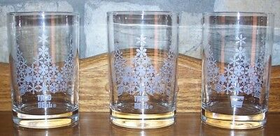 Vintage Taco Bell White Frosted Christmas Tree Glass Glasses Lot of 3