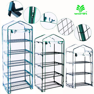 3-5 Tier Shelves Mini Greenhouse Outdoor Indoor Clear PVC Cover Zipper Roll Up