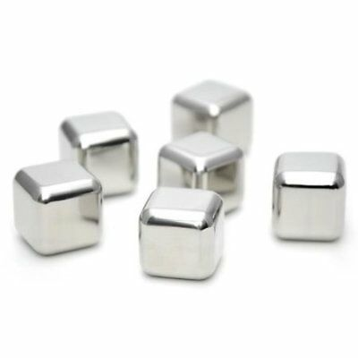 With  dg  Stainless Steel Ice Cubes Reusable Drink Cooler Pack Of 6 Metal Ice Cu