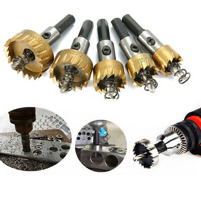 5Pcs Hole Saws Drill Bit Set Tooth Cutter Cutting Metal Hardware Tool + Spanner