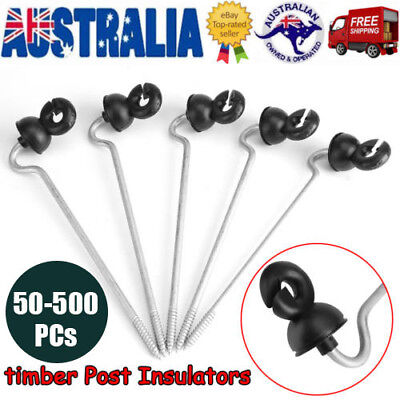 50-500x Electric Fence Timber Wood Post Insulator Screw In Offset Poly Wire Cord