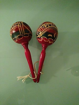 Vintage Honduras Maracas Rumba/Shakers/Percussion Carved  Handmade!