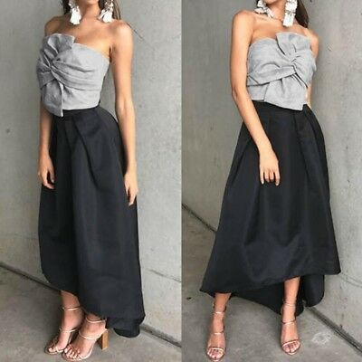 Women Suede Cropped Top Bow Front Slash Neck Sleeveless Crop Tube Grey L BS