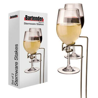 2pc Bartender 30cm Picnic/Outdoor Stemware Stakes Holder/Rack/Stand f Wine Glass