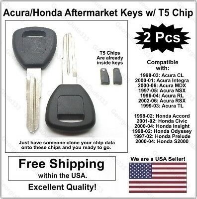 2pak: acura / honda aftermarket replacement key blanks with t5 transponder  chips
