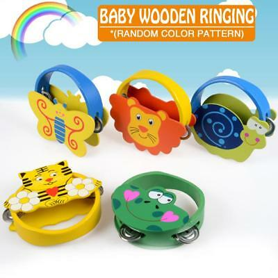 Baby Wooden Ringing Cartoon Animal Tambourine Early Education Toy,Random Pattern