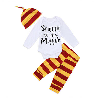 3x Cute Newborn Baby Boys Girl Harry Potter Clothes Romper Pants Hat Outfit Set