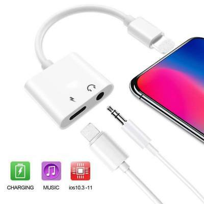 2 in1 Headphone Jack Adapter Audio Charger Charging Cable for iPhone Xs/Xr/X/7/8
