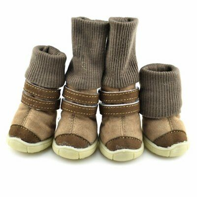 4pcs Pet Dog Shoes Winter Anti-Slip Puppy Snow Boots Warm Cotton Knitted Booties