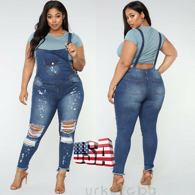 ee8cd7a3f239 US Women Denim Jeans BIB Overalls Straps Jumpsuit Rompers Trousers Plus Size