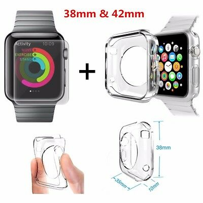For Apple Watch Series 1 2 3 4 Full Tempered Glass Screen Protector&TPU Case UK^