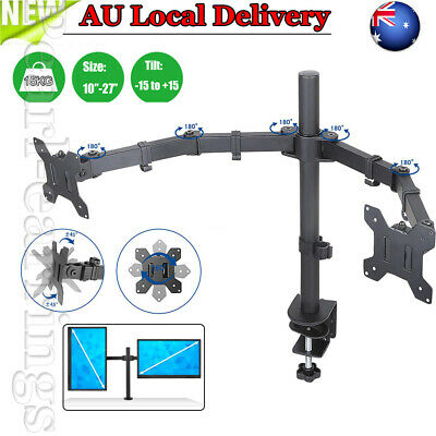 """2 Dual Two LCD Monitor Screen Table Desk Mount Stand 13 17 19 22 24 26 27"""" 360°s"""