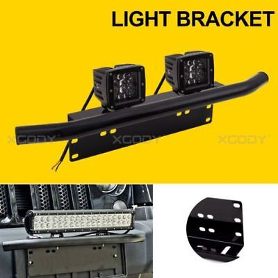 Auto Bull Bar Front Bumper License Plate Mount Bracket Working Light Offroad Car