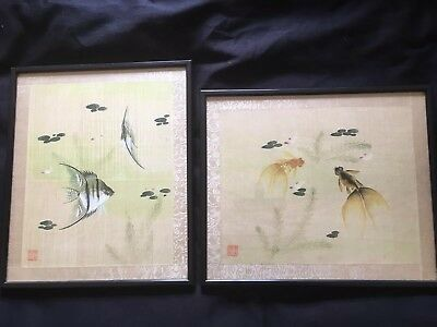 Rare -Beautiful Early 20th Century Chinese Silk Paintings of Fish. 1-£25, 2-£40