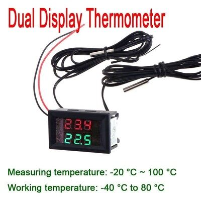 Dual Display Digital Thermometer Temperature TEMP LED METER + NTC sensor 12V 24V