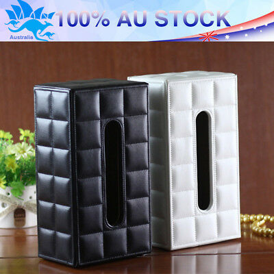 PU Leather Tissue Box Case Cover Holder Napkin Storage Box Home Car Office Decor
