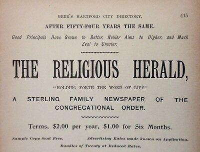"1896 Ad(1800-23)~""the Religious Herald"" Family Newspaper Of Congregational Order"