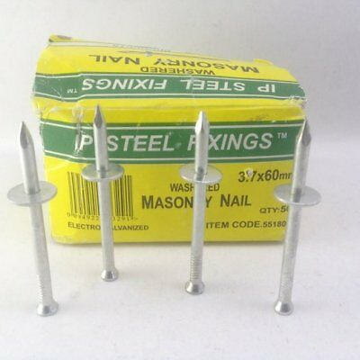 Capping, Washered, Washer Masonry Nails,Mickey Pins 3.7 x 60 mm.  50, 100 Or 200
