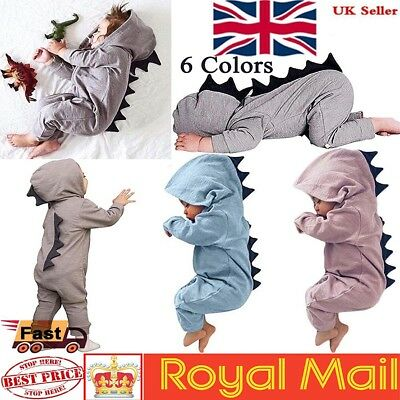 Newborn Infant Dinosaur Baby Boy Girl  Hooded Romper Jumpsuit Clothes Outfit UK