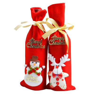 Red Wine Bottle Cover Bags Decoration Home Party Santa Claus Christmas HOT!!!
